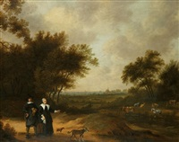 a double portrait of a couple promenading with their dogs through their country estate by herman mijnerts doncker