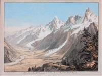 la vallée de chamonix, l'aiguille du midi et l'aiguille d'argentière depuis les houches by jean-antoine linck