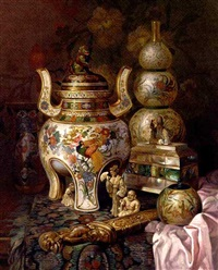 oriental ornaments on a draped table by ludwig augustin