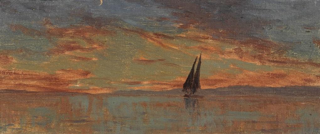 coucher de soleil sur le léman by francois louis david bocion
