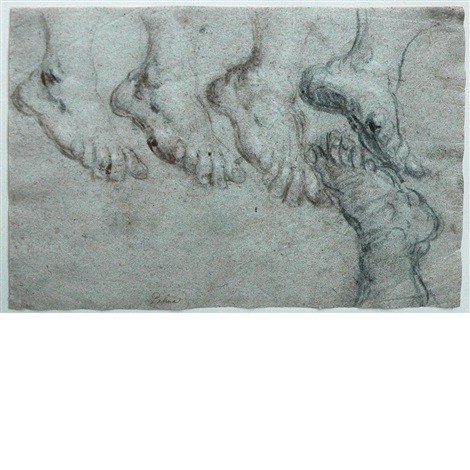 studies of feet by jacopo palma il giovane