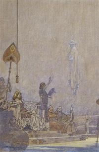 a spectre appears at a queen's court (bk illus. for flying islands of the night) by franklin booth