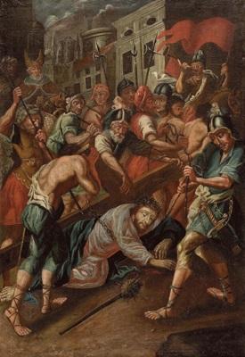 jesus fällt unter dem kreuz mit blick auf ein stadtviertel von jerusalem by austrian school tyrolean 17