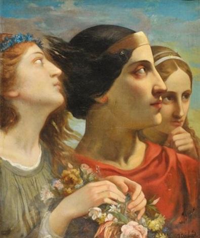 projet de fresque trois têtes féminines study by joseph benoit guichard