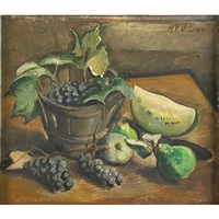 still life with grapes in a basket, melon, pear and apple by henry varnum poor