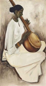 untitled (woman playing sitar) by b. prabha