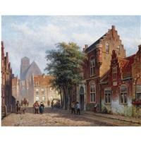 a sunny street in a dutch town by eduard alexander hilverdink