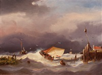 ships near the coast in choppy waters by adrianus david hilleveld