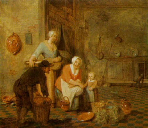 kitchen interior with peasants by leonard de france