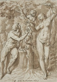 la tentation d'adam et eve (after raphaël) by peter van lint