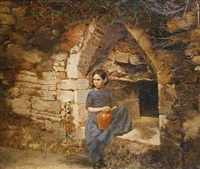 a girl seated in a stone arch by george hepper