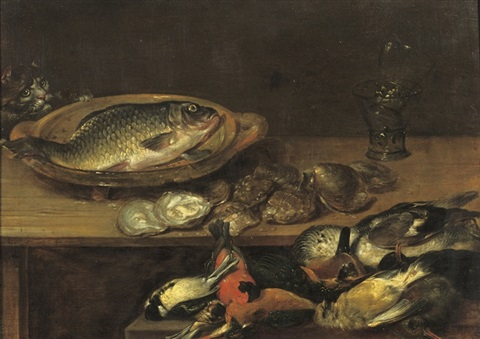 a fish oysters and songbirds on a wooden table by alexander adriaenssen