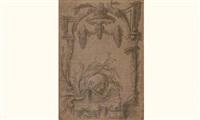 projet de cartouche rococo avec dauphin et fontaine by pierre-edmé babel
