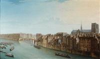 vue de l'ile saint louis avec notre-dame by jean baptiste nicolas raguenet