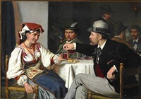 from a roman osteria. a young man is flirting with a roman woman by wenzel ulrik tornoe