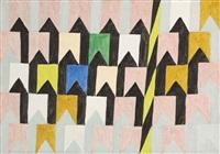 bandeirinhas estruturadas com mastros (no. 1339) by alfredo volpi