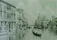 the grand canal looking towards s. maria della salute by e. boni