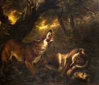 manada de lobos cazando una oveja by philipp reinagle