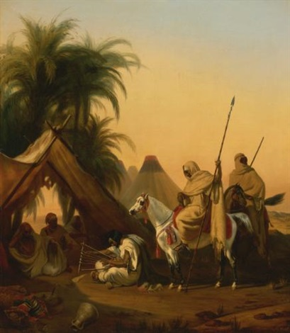 horsemen and arab chiefs listening to a musician by emile jean horace vernet