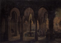 the cloister garden of monreale near palermo by carl ludwig rundt
