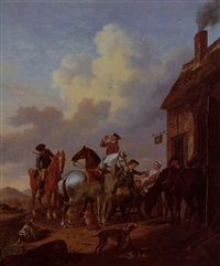 a hunting party taking refreshment outside an inn by tethart philip christian haag