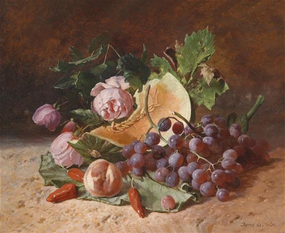 stillleben mit rosen und weintrauben by david emile joseph de noter