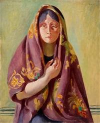 buste de femme avec châle by wilhelm gimmi