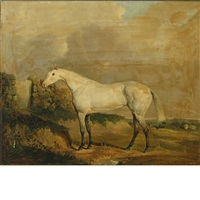 a gray racehorse in a landscape by joseph (of worcester) dunn