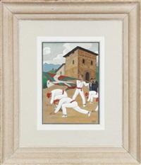 danseurs basques aux sabres et drapeau by ramiro arrue