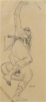 plafonnante de guerrier franc (study) by fernand cormon