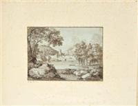 vue d'un village au bord d'une rivière by francois-xavier fabre