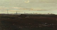 moor landscape with sheep by a shelter by hans ludvig smidth
