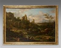 paysage classique animé de personnages avec le temple de vénus et de rome au forum romain by jacob de heusch