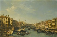 venice, the grand canal: looking south-west (from the rialto bridge to the palazzo foscari) by bernardo bellotto