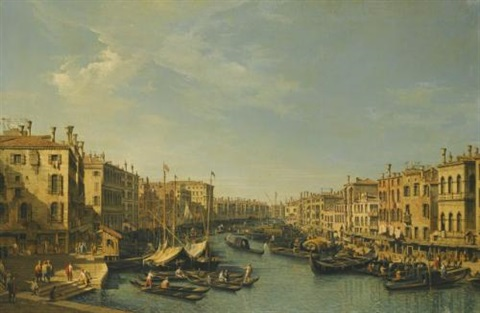 venice the grand canal looking south west from the rialto bridge to the palazzo foscari by bernardo bellotto