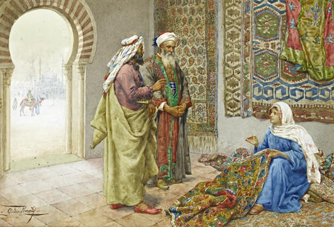 a moorish carpet merchant by giulio rosati