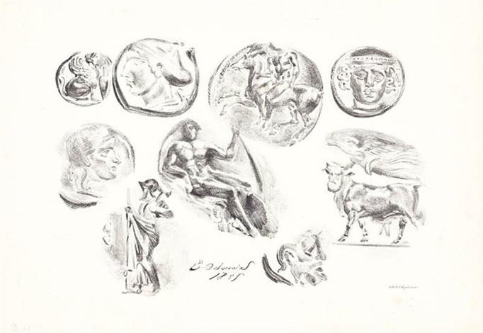 feuille de neuf médailles antiques by eugène delacroix