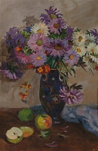 still life of flowers in a vase and fruit by anna ivanovna akishinia