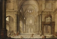 a church interior with christ driving the moneychangers from the temple by hans jurriaensz van baden