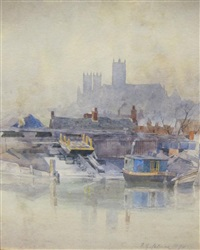 lincoln cathedral from the river by frederick george cotman