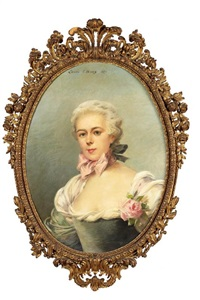 portrait d'élégante au noeud rose by louise abbéma