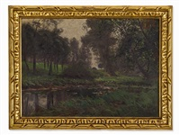 forested riverside by adolf lins