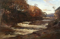 fisherman by a wooded river by joseph malachy kavanagh