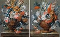 blumenstillleben mit einer ornamentierten vase auf einer steinbrüstung (+ blumenstillleben mit einer ornamentierten vase auf einer steinbrüstung; pair) by karel van vogelaer