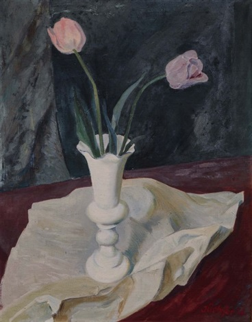 still life with pink colored tulips and white cloth by hans jüchser