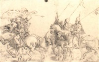 six turkish horsemen, riding to the left by jan swart van groningen