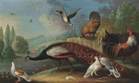 a peacock, pigeons and chickens in a wooded river landscape by marmaduke cradock