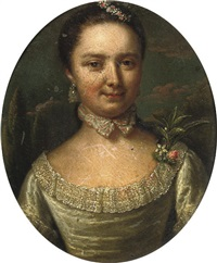 portrait of a lady in a green dress with floral decoration by mattheus verheyden