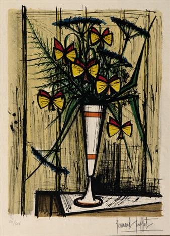 les fleurs papillons le petit hibou 1967 lithograph smllr 2 works by bernard buffet