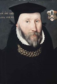 portrait of a gentleman traditionally identified as sir thomas coleshill (d. 1595), bust-length, in a black coat and hat, with a gold chain by british school (16)